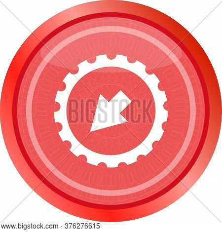 Web Icon Arrow On Gears Cog Sign Web Button. Gears Icon. Cog Flat Icon