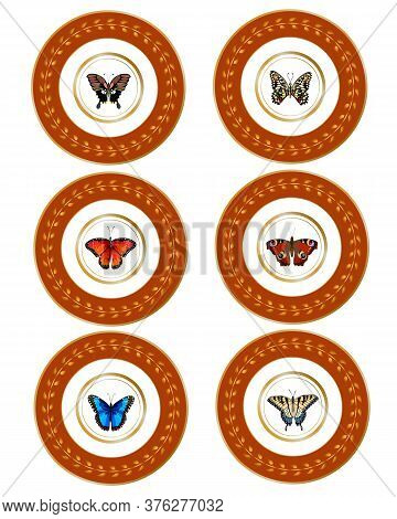 A Set Of Plates With A Beautiful Design.colored Butterflies In Plates Vector Design.
