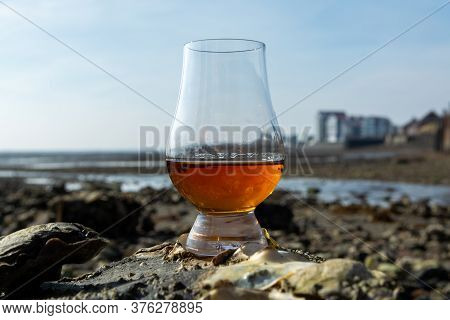 Tasting Glass Of Scotch Whisky And Sea Shore During Low Tide, Smoky Whisky Pairing With Oysters