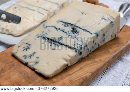 Italian Food, Buttery Or Firm Blue Cheese Made From Cow Milk In Gorgonzola, Milan, Italy