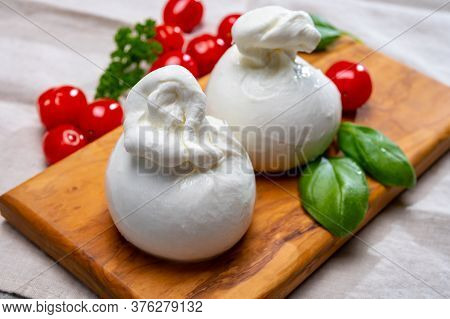 Cheese Collection, Fresh Soft White Burrata Cheese Ball Made From Mozzarella And Cream From Apulia,
