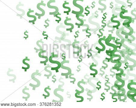Green Dollar Symbols Flying Currency Vector Background. Marketing Pattern. Currency Token Dollar Mon