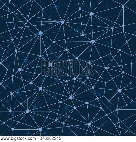 Abstract Dark Blue Multi Layered Networks Pattern Background, Polygonal Network Mesh