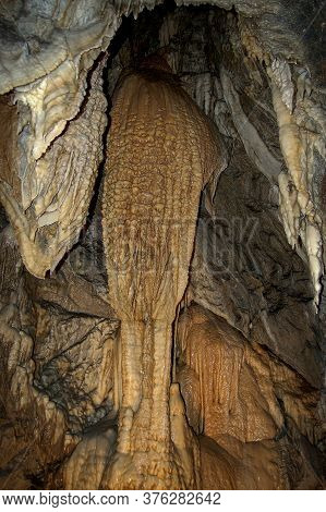 Closeup Of A Mountain Cave With Stalactites And Stalagmites In Tuscany, Italy, Europe