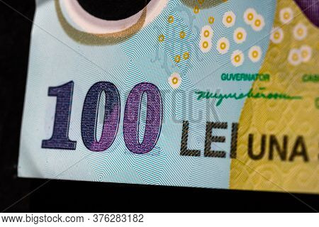 Selective Focus On Detail Of Lei Banknotes. Close Up Macro Detail Of Romanian Lei Banknotes, 100 Lei