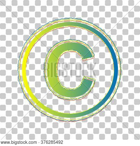 Copyright Sign Illustration. Blue To Green Gradient Icon With Four Roughen Contours On Stylish Trans