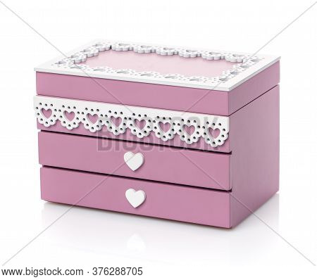 Wooden Jewelry Box Isolated On White Background.