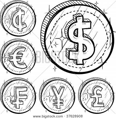 International currency symbol coins