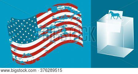 Usa Flag In Grunge Style, Ballot Box, Ballot With Symbol Of Democrats - Donkey - Vector. Presidentia