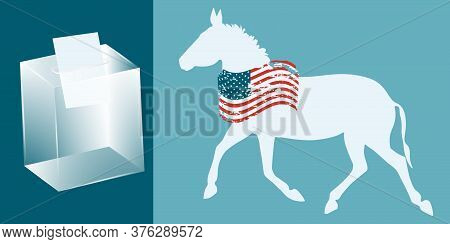 Donkey With Usa Flag In Grunge Style, Ballot Box Transparent With Ballot Paper - Vector. Presidentia