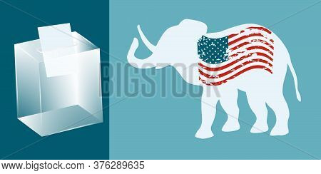 Elephant With Usa Flag In Grunge Style, Ballot Box Transparent With Ballot Paper - Vector. President