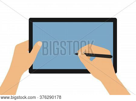 Flat Design Cartoon Illustration Of Man Or Woman Hands Holding Tablet With Blank Blue Screen. Stylus