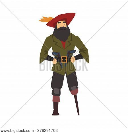 Old Pirate With Wooden Leg, Male Buccaneer Cartoon Character Vector Illustration