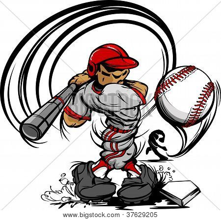 Baseball Player Cartoon Swinging Bat At Speeding Ball