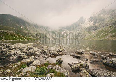 Lake Hincovo Pleso In The National Park High Tatra.