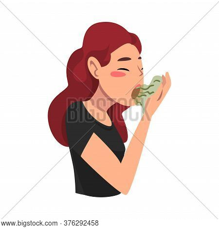 Girl Breathing To Her Hand To Check And Smell Her Breath, Bad Smell Vector Illustration