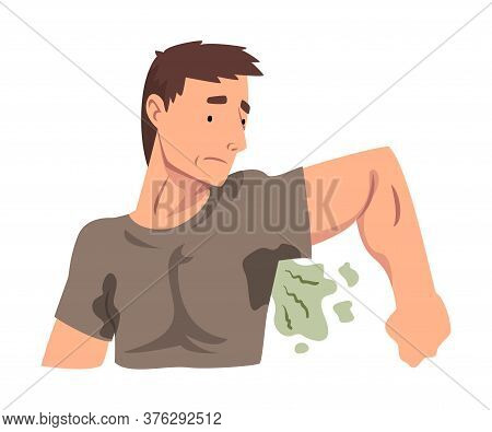 Sweating Young Man Feeling Bad Smell Coming From His Own Armpits, Guy Having Body Odor Problem Vecto