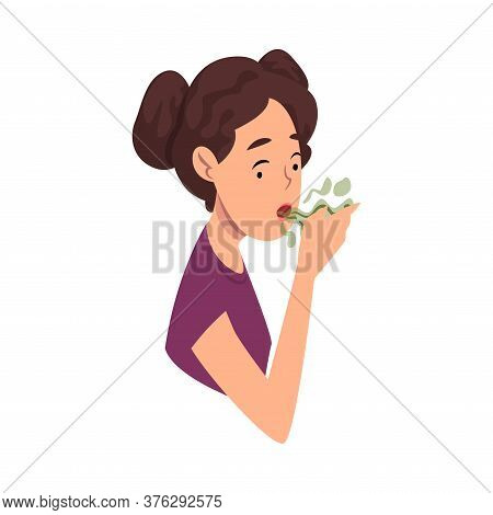 Girl Breathing To Her Hand To Check And Smell Her Bad Breath Vector Illustration