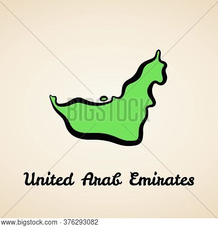 Green Simplified Map Of United Arab Emirates With Black Outline.