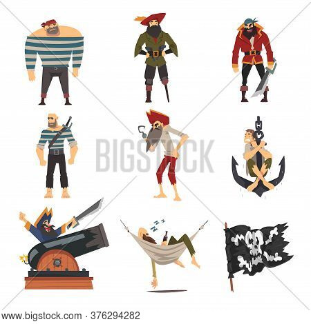 Funny Pirates Collection, Male Buccaneers Cartoon Characters Vector Illustration