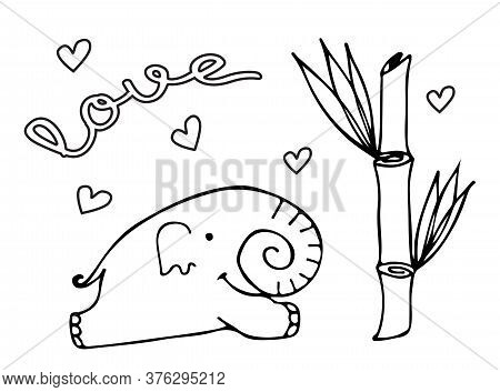 Linear Drawn Elephant. World Elephant Day. Vector