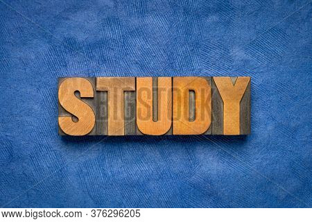 study word abstract in vintage letterpress wood type, education, business and science concept