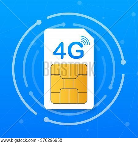 4g Sim Card. Mobile Telecommunications Technology Symbol. Vector Illustration.