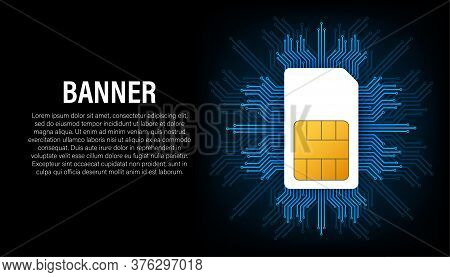 Sim Card Banner In Abstract Style On Black Background. Modern Communication Technology. Concept Bann