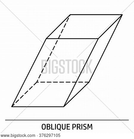 An Oblique Prism Outline Icon On White Background