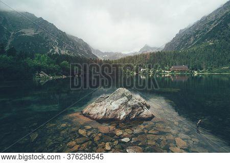 Beautiful Lake Near The Rocky Mountains In Slovakia.
