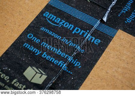 Amazon Prime Label Printed On A Corrugated Packaging Box