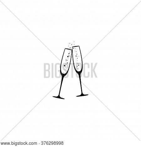 Two Champagne Glasses With Bubbles. Flat Goblet Icon.