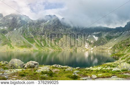 A Valley In The Mountains With The Hincovo Pleso Pond In The High Tatras.
