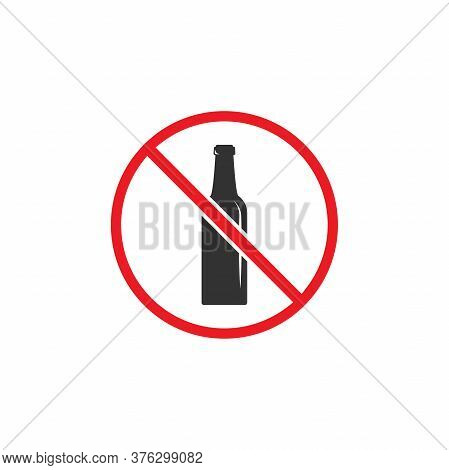No Alcohol Sign. Forbidden Alcohol Icon. Bottle In Red Crossed Circle.
