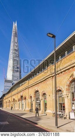 January 2020. London. The Shard Amongst Brick Buildings In , London, England