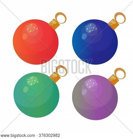 Set Of Four Christmas Tree Baubles. Red, Green, Dark Blue And Lilac Colors. Vector Illustration.