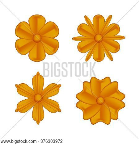Collection Flowers Copper Ornate Isolated On White, Luxury Flower Petal Copper Set, Copper Flowers O
