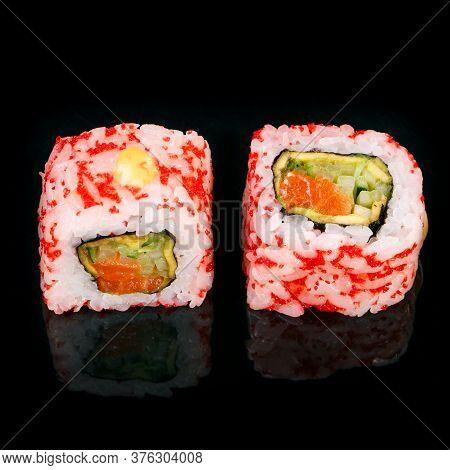 Sushi On Black Background. Perfect For Creating Sushi Restaurant Menu.