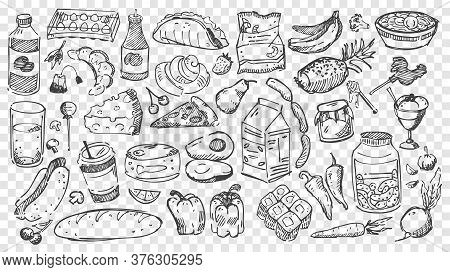 Hand Drawn Meal Doodles Set. Collection Of Pencil Or Chalk Drawing Sketches Of Different Food Types
