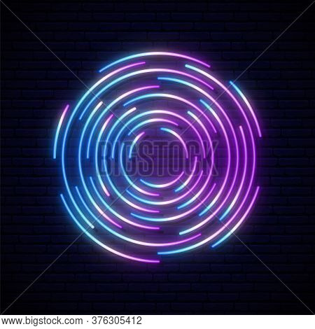 Neon Portal Sign. Glowing Futuristic Design. Colorful Neon Circles On Dark Brick Wall Background. St