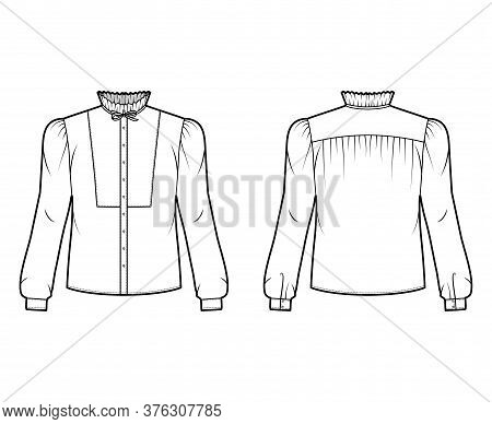 Bow-detailed Blouse Technical Fashion Illustration With Ruffled Collar, Long Sleeves With Cuff, Pane