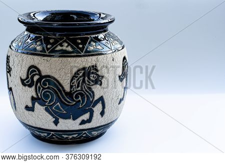 Clay Vase On A White Background.clay Vase On A White Background