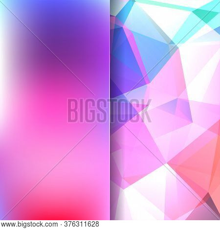Background Made Of Pink, White, Purple Triangles. Square Composition With Geometric Shapes And Blur
