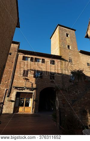 Ancient Houses In The Medieval Town Of Certaldo. The Village Is Famous For Having Hosted The Famous