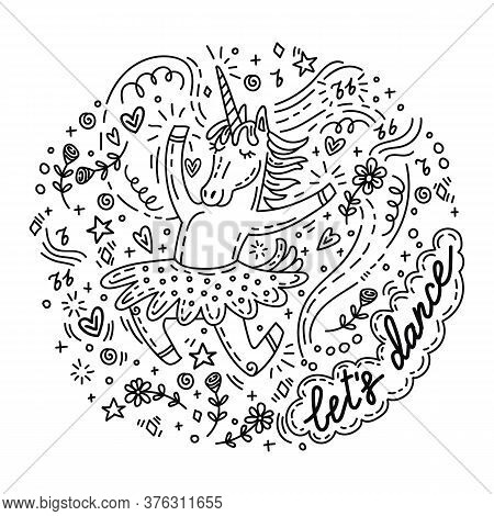 Funny Dancing Unicorn In Skirt. Vector Humor Character In Doodle Style.monochrome Isolated Illustrat
