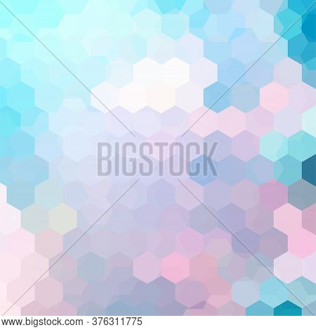 Abstract Background Consisting Of Pastel Blue, Pink Hexagons. Geometric Design For Business Presenta