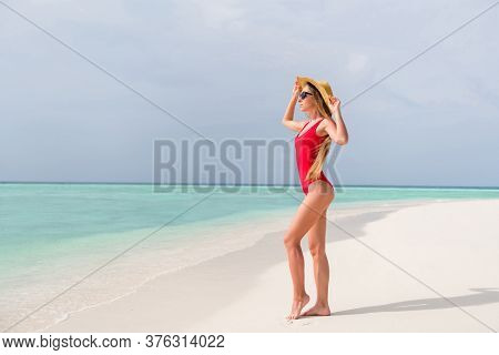 Full Body Profile Photo Of Beautiful Lady Long Hair Legs Sunbathing Seashore Sexy Hot Figure Shapes