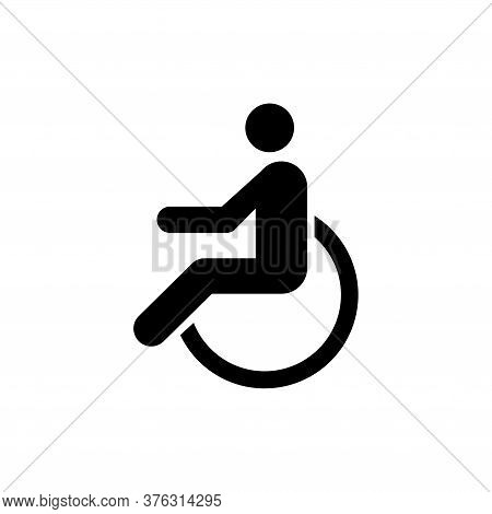 Disabled, Wheelchair Handicap, Cripple. Flat Vector Icon Illustration. Simple Black Symbol On White