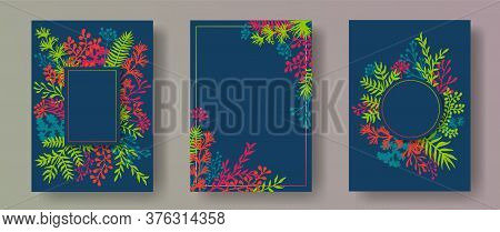 Botanical Herb Twigs, Tree Branches, Leaves Floral Invitation Cards Collection. Herbal Frames Vintag