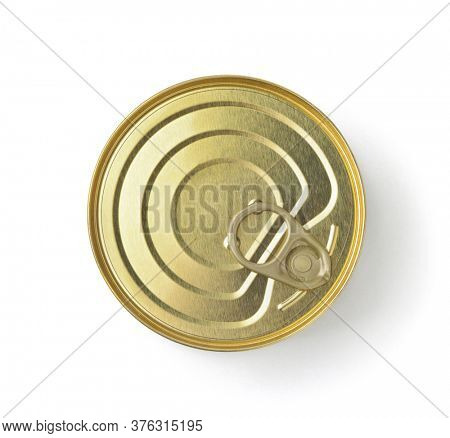 Top view of golden ring pull tin can isolated on white